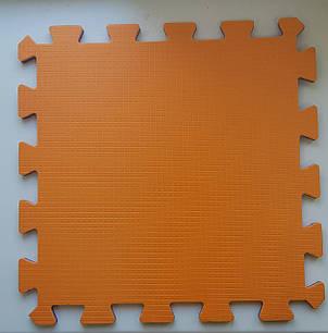 Мягкий пол пазл 300*300*8 мм двухсторонний оранжево -синий, фото 2
