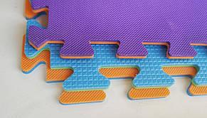 Мягкий пол пазл 300*300*8 мм двухсторонний оранжево-фиолетовый, фото 2