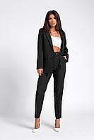 Черный нарядный брючный костюм с пиджаком размеры 42-48
