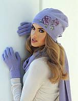 Милая шапка и шарфик с красивым принтом розы, украшенным бисером, от Kamea - Magda