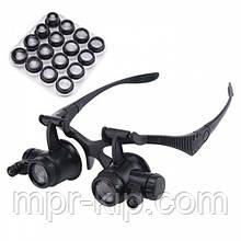 Лупа-окуляри бінокулярні 9892G8KX (2.5x / 4x / 6x / 8x / 10x / 15x / 20x / 25x) c LED підсвічуванням