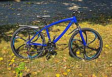Велосипед на литых дисках цельнорамный одноподвесной, синий (21 скорость)