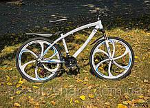 """Велосипед на литых дисках цельнорамный одноподвесной 26 колеса"""", белый (24 скорости)"""