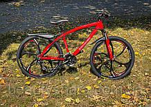 """Велосипед на литых дисках цельнорамный одноподвесной 26"""" колеса, красный  (24 скорости)"""