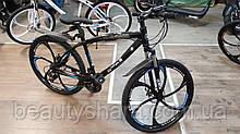 """Велосипед на литих дисках цельнорамный однопідвісний 26"""" колеса, чорний (24 швидкості)"""