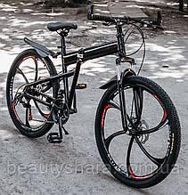 """Велосипед на литых дисках складной одноподвесной 26"""" колёса, черный (21 скорость)"""