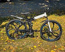 """Велосипед на литых дисках складной двухподвесной 26"""" колёса, бело-черный (21 скорость)"""