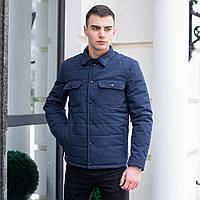 """Pobedov Jacket""""IPO""""Мужская куртка рубашка короткая синяя с воротником на кнопках весна/осень ветровка жакет"""