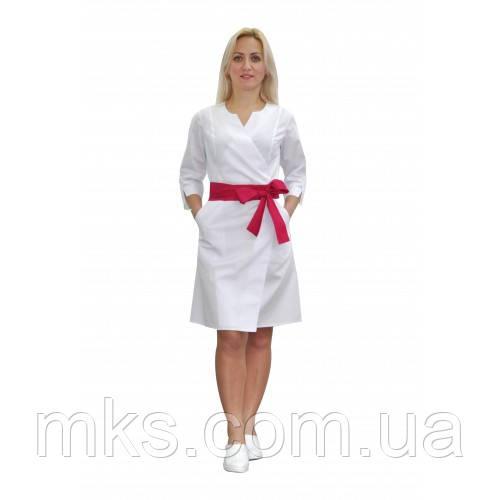 Медичний халат жіночий Верона білий/малиновий