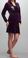 Женский велюровый халат короткий фиолетовый