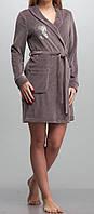 Женский велюровый халат короткий кофейный