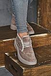 Женские ботинки замшевые зимние бежевые, фото 4
