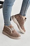 Женские ботинки замшевые зимние бежевые, фото 7