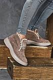 Женские ботинки замшевые зимние бежевые, фото 8