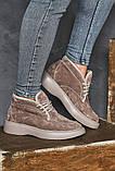 Женские ботинки замшевые зимние бежевые, фото 9