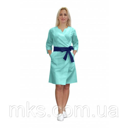 Медицинский халат женский Верона мятный/т.синий