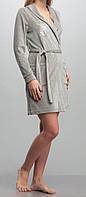 Женский велюровый халат короткий серый меланж