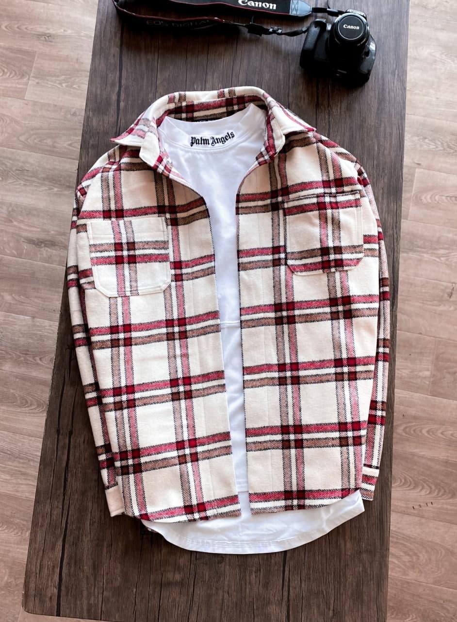 Мужская рубашка молодежная крутая (бежевая с коричневым) модная повседневная sr73