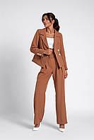 Женский нарядный костюм двойка карамельного цвета размеры 42-48