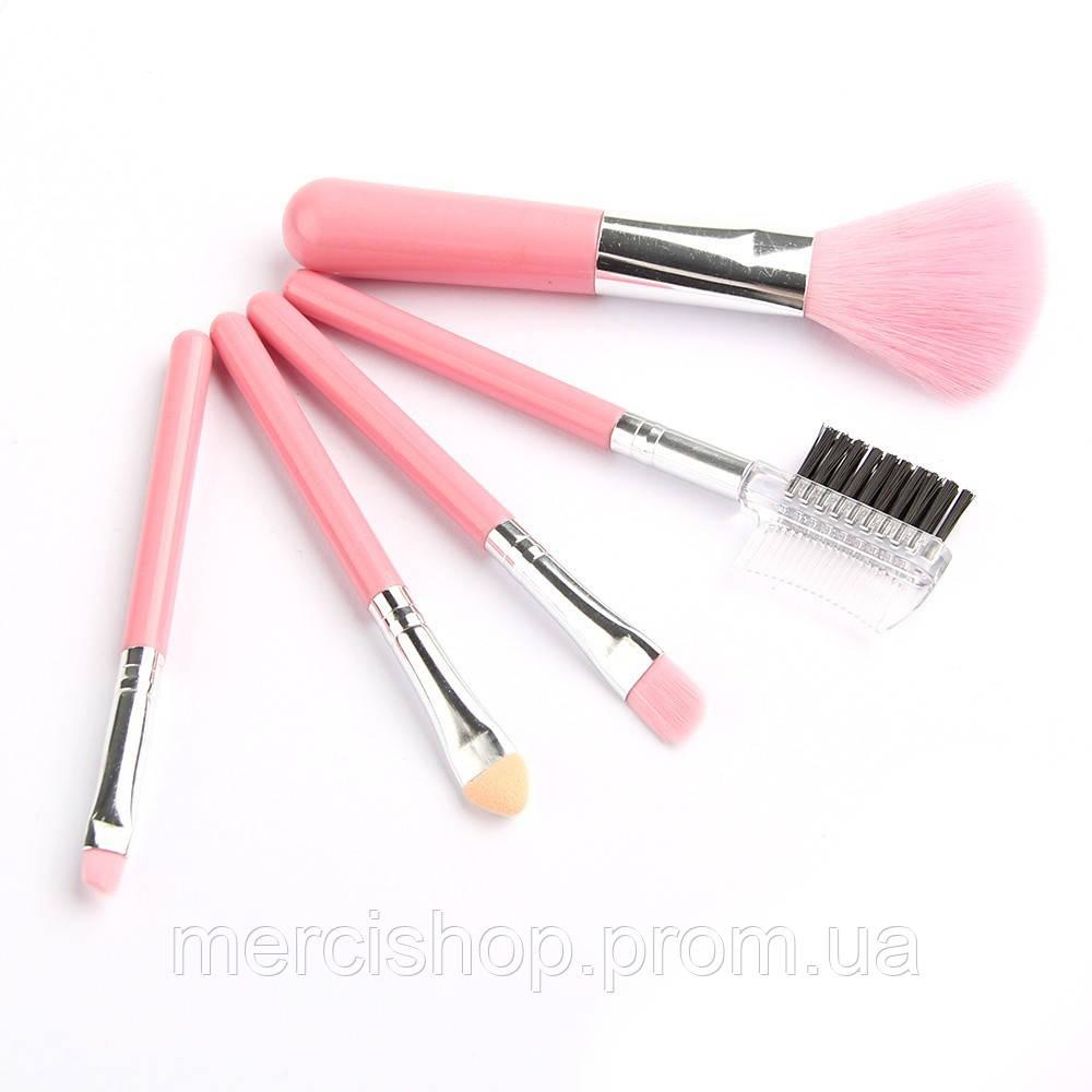 Набір міні-пензлів для макіяжу ( Рожевий )