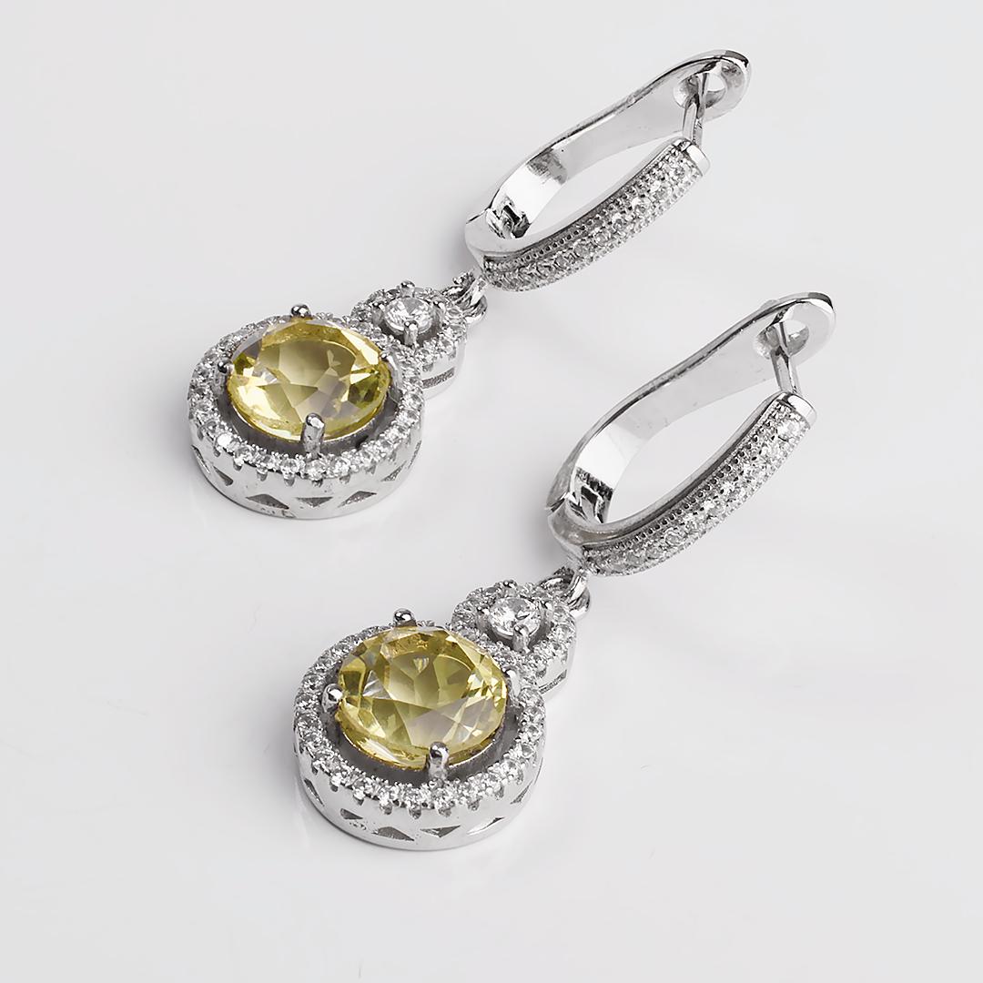 Цитрин лимонный серебряные серьги, 1676СРЦ