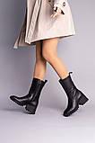 Чоботи жіночі шкіряні чорні на невеликому каблуці, зимові, фото 5