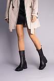 Чоботи жіночі шкіряні чорні на невеликому каблуці, зимові, фото 4