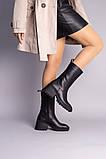 Чоботи жіночі шкіряні чорні на невеликому каблуці, зимові, фото 2