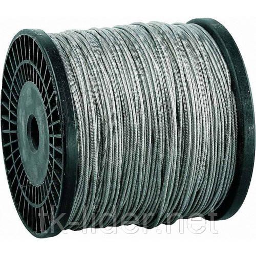 Трос для растяжки в оплетке ПВХ, стальной трос в оплетке ПВХ d=1,5 мм DIN 3055