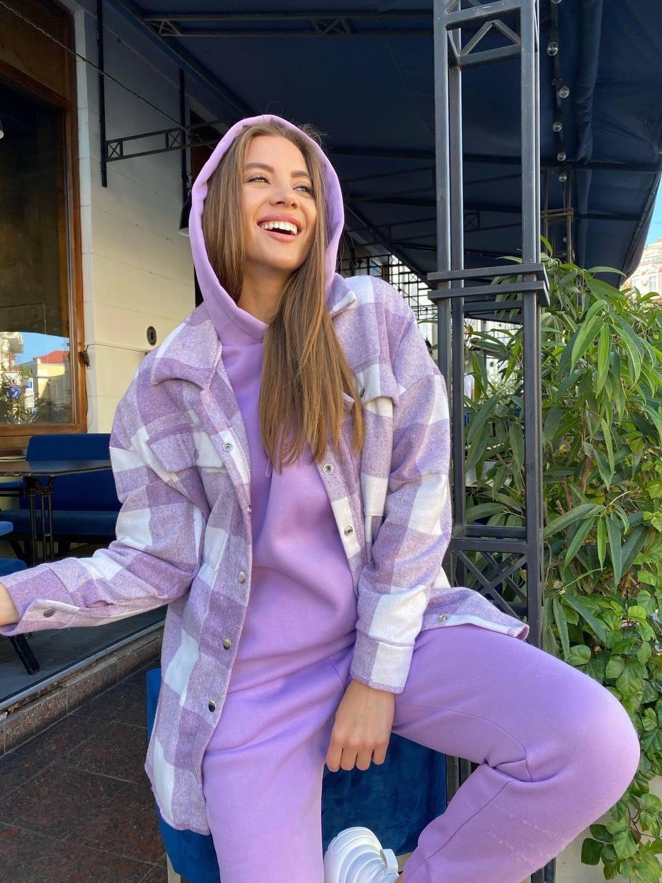 Женский костюм, трехнить,кашемир, р-р S, M, L (фиолетовый)