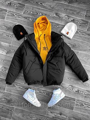 Куртка пуховик мужская черная короткая зимняя