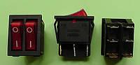 Кнопочный выключатель 250V 15A, сдвоенный 28.5 * 22мм, с подсветкой