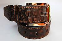 Ремень 'BronzeAge' 40 мм темно-коричневый с крокодиловым узором