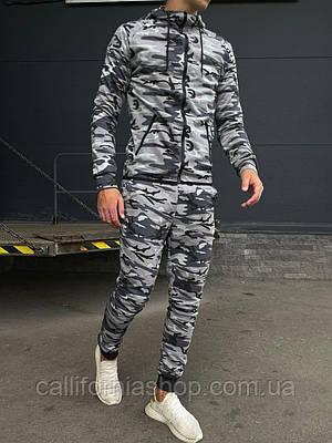 Мужской спортивный костюм серый камуфляж с капюшоном на манжетах