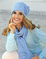 Красиво связанная элегантная шапочка и шарфик (шапка+шарф) от Kamea - Emma