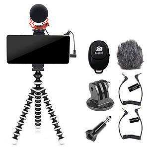 Набор штатив с креплением для телефона + креплением для экшен камер + микрофон + пульт комплект VM-D02 KIT 2GO
