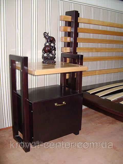 """Прикроватная деревянная тумбочка для спальни """"Жаклин"""" (двухцветная)"""