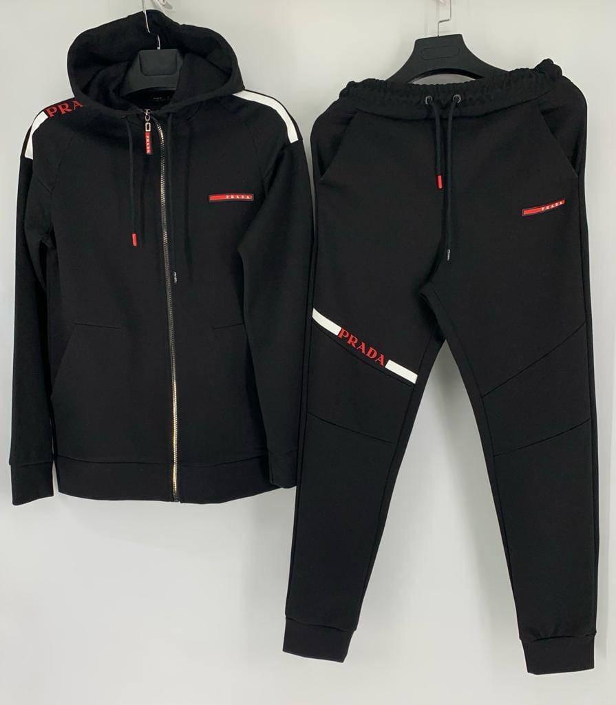 Чоловічий спортивний костюм, трехнить на флісі, р-р С-М (44-46), М-Л (48-50), ХЛ-ХХЛ (52-54) (чорний)