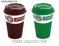 Чашка прорезиненная керамическая кружка Старбакс с крышкой-поилкой Starbacks Green/Brown 350 мл