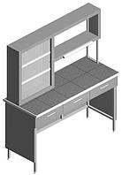 Стол лабораторный пристенный с титровальным табло и ящиками, фото 1