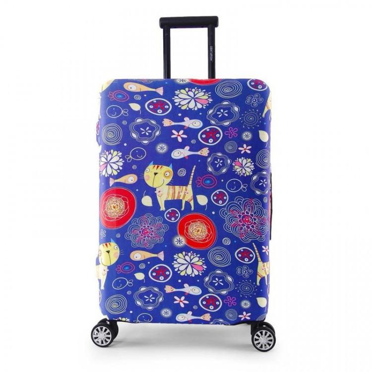 Защитный чехол для чемодана (Размер M) с цветным принтом, плотный тянущийся материал, вырезы под ручки