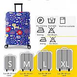 Защитный чехол для чемодана (Размер M) с цветным принтом, плотный тянущийся материал, вырезы под ручки, фото 2