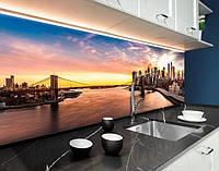 Стінова панель з фотодруком місто на світанку, міст, хмарочоси, архітектура на самоклеючій плівці або ПВХ