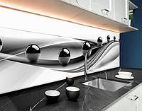 Скинали чорні кулі 3D, абстракція, хвилі і кулі, чорні сфери ПВХ панель 62 х 205 см (ab11068-5)