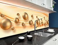 Кухонні фартухи перли, абстракція, хвилі і кулі, бежеві сфери, бежеві кулі 3D ПВХ панель 62 х 205 см