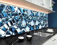 Кухонний фартух з фотодруком дзеркальні блакитні куби на білому тлі ПВХ панель 62 х 205 см (ab11072-5)