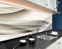 Кухонний фартух абстрактні лінії, сіро-бежеві хвилі ПВХ панель 62 х 205 см (ab11077-5)