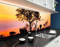 Кухонний фартух сафарі на заході, тварини, африка ПВХ панель 62 х 205 см (an167-5)