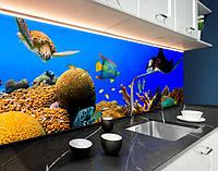Скинали водний світ, рибки, море, корралы, скати ПВХ панель 62 х 205 см (an169-5)