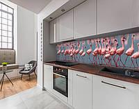 Стінова панель з фотодруком рожевий фламінго, тварини, фламінго на тлі моря на самоклеючій плівці або ПВХ